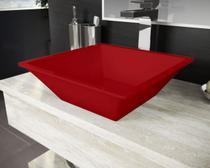 Cuba Pia De Apoio Para Banheiro Toleato Quadrada Gaia 36 Cm Marmorite Vermelho -