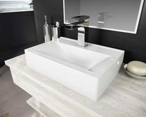 Cuba Pia De Apoio Para Banheiro Toleato Retangular Braga 45 Cm Marmorite Branco -