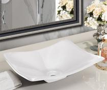 Cuba Pia para Banheiro Retangular Côncava Branca - ALADDIN