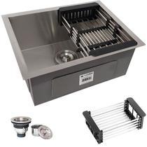 Cuba Quadrada Inox 304 Cozinha Pia Embutir Sobrepor Gourmet 50x40 Premium com Acessórios - ecubas