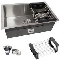 Cuba Quadrada Inox 304 Cozinha Pia Embutir Sobrepor Gourmet 60x40 Premium com Acessórios - ecubas