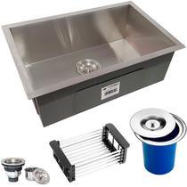 Cuba Quadrada Inox 304 Cozinha Pia Embutir Sobrepor Gourmet 60x40 Premium com Lixeira de Embutir 5L e Acessórios - ecubas