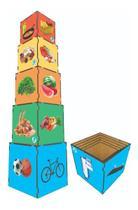 Cubo De Encaixe Piramide Alimentar De Madeira Simque -