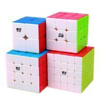 Cubo Mágico Qiyi Kit 4 Peças - Speed 2x2, 3x3, 4x4 e 5x5 Stickerless - Qi Yi Cube