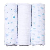 Cueiro Fralda De Pano Baby Care Papi Soft 100 X 80 Cm 3 Und azul -