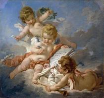 Cupido - Alegoria à Poesia - François Boucher - Tela 50x52 Para Quadro - Santhatela