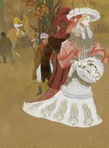 Dama de Outono - Georges de Feure - 75x102 - Tela Canvas Para Quadro - Santhatela