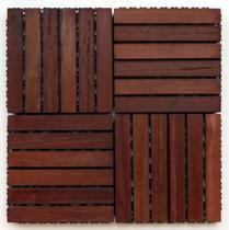 Deck de Madeira Modular Base Plástica Isabela Revestimentos 30cm x 30cm (Placa) Madeira de Lei Mista -