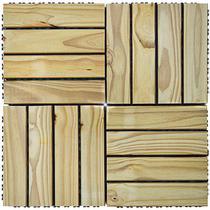 Deck de Madeira Modular Base Plástica Isabela Revestimentos 30cm x 30cm (Placa) Pinus Tratado -