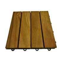 Deck de Madeira Modular com Base Plástica 4 Ripas 30x30 Kit 30 Peças (2,5m²) - Scrock Pisos