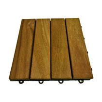 Deck de Madeira Modular com Base Plástica 4 Ripas 30x30 Kit 48 Peças (4m²) - Scrock Pisos