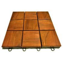 Deck de Madeira Modular com Base Plástica Quadriculado 30x30 Kit 96 Peças (8m²) - Scrock Pisos