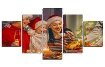 Decoração de Natal 5 Conjunto paineis Quadros Família Ceia Natalina Mosaico - Neyrad