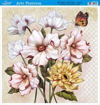 Decoupage Arte Francesa Quadrado G Flores AFQG-103 Litoarte -
