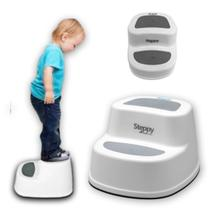 Degrau Steppy Cinza Escada Infantil Banheiro 2 Em 1 - Burigotto