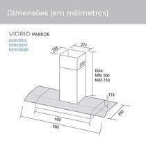 Depurador de ar e Exaustor de ar Vidrio 90 Cm Branco Suggar -