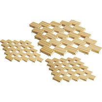 Descanso de panela 3 peças madeira - Oitonline