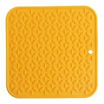 Descanso de panela quadrado de silicone amarelo - homecook -