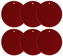 Descanso de Panela Silicone Redondo 18cm Jogo com 6 Unidades - Yazi -