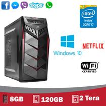 Desktop 5Tech Intel Core I7, 8Gb, SSD 120GB, HD 2 Tera, HDMI Full HD, Windows 10 Pro 2019 + WIFI (Azul e Vermelho)