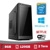 Desktop Gamer  Intel Core I7, 8gb, SSD 120GB, HD 2 Tera, VGA 1gb, HDMI Full HD, Windows 10 Pro 2019 + WIFI - 5Techpc