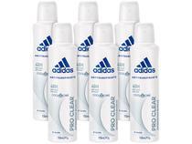 Desodorante Aerosol Antitranspirante Feminino - Adidas Pro Clear 150ml 6 Unidades