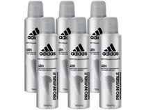 Desodorante Aerosol Antitranspirante Masculino - Adidas Pro Invisible 150ml 6 Unidades