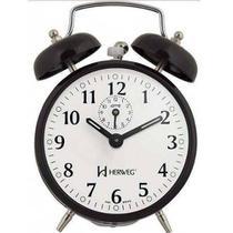 Despertador Herweg 2208 034 Preto Antigo Retrô Relógio -