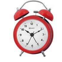 Despertador Redondo Vermelho Herweg de Mesa com Alarme 707 -