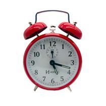 Despertador Relógio Antigo A Corda Campainha Retrô Aço vermelho - Herweg