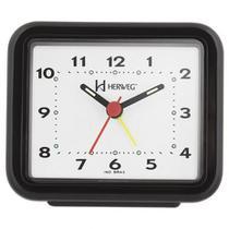 Despertador Retangular Quartz Preto Herweg 2612-34 -
