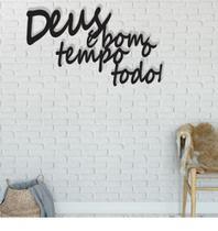 Deus É Bom O Tempo Todo 60x32cm Lettering em Madeira Mdf Aplique de Parede - Império Das Artes