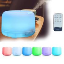Difusor Aromatizador Umidificador de Ar 500ml Luz Luminária Abajur Com Luz 7 Cores Led Com Controle -