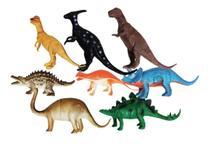 Dinossauro De Borracha Miniatura Brinquedo com 8 dinos - Dm Toys