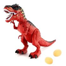 Dinossauro de Brinquedo que Anda Faz Sons e e Bota Ovo - Dm Toys