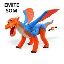 Dinossauro Dragon Um Novo Amigo, Dragão Emite Som, Menino - Adjomar Brinquedos -