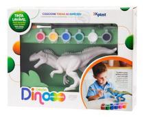 Dinossauro Para Pintar  Dino Colorir 6 Tintas Lavável Xplast -