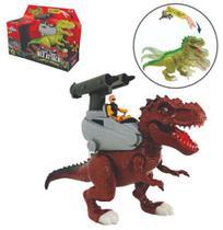 Dinossauro Rex Attack Com Lanca Missil + Som E Luz A Bateria Na Caixa - Adijomar