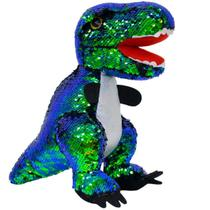 Dinossauro Tiranossauro Rex Lantejoulas 30cm - Pelúcia - Fofy Toys