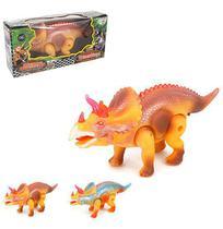 Dinossauro triceratops super poder colors com som e luz a pilha na caixa wellkids - Wellmix