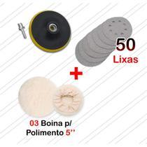 Disco De Borracha Auto Adesivo Colante Adaptador Para Furadeira Lixadeira + 3 Boinas + 50 Lixas - Starfer