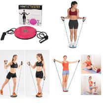 Disco de equilibrio com elastico corda academia em casa roda exercicio twist de torção pilates yoga - Makeda