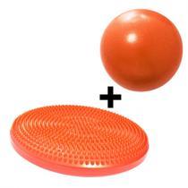 Disco Inflavel Equilibrio + 1 Overball para Pilates 25cm Alaranjanda  Liveup -