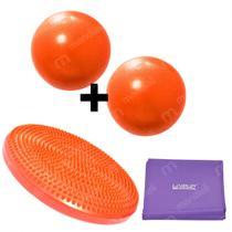 Disco Inflavel Equilibrio + 2 Overball para Pilates 25cm Laranja+ Faixa Elastica Media  Liveup -