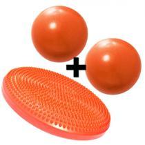 Disco Inflavel Equilibrio + 2 Overball para Pilates 25cm Laranja  Liveup -