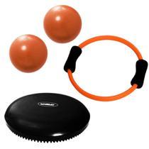 Disco Inflavel Equilibrio Preto + Anel Flexivel + 2 Overball para Pilates 25cm  Liveup -