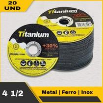 Discos De Corte Fino Inox 4.1/2 X 1,0 Esmerilhadeira 20 Pçs - Titanium