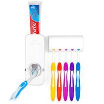 Dispenser Suporte Pasta De Dente Automático E Escova Branco -