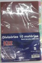 Divisória p/ Fichário 10 Matérias Colorida  Kaz -