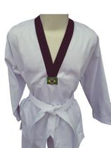Dobok Taekwondo Adulto Tam. A1 Cor Branca Gola Preta em Brim pesado - Glulan Kimono